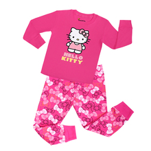 CHUNJIAN Lovely pink hello kitty girls sleepwear clothing set kids pajamas boys car design animal pyjamas for 2-7T