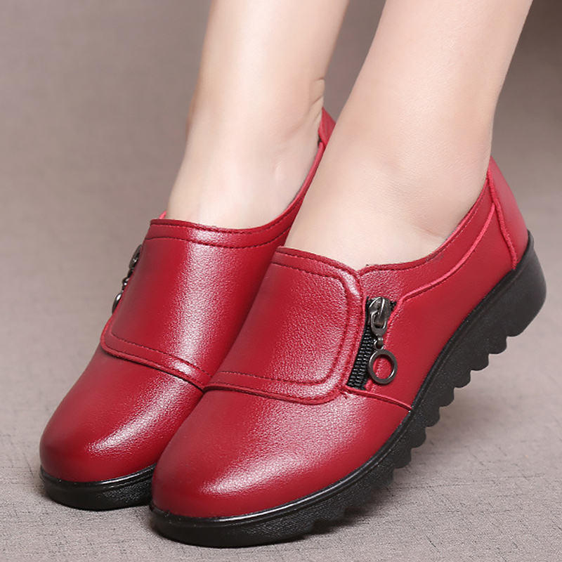 Superstar Shoes Flats Loafers Non-Slip Round-Toe Large-Size Woman 35-41 Zip Solid Sewing title=