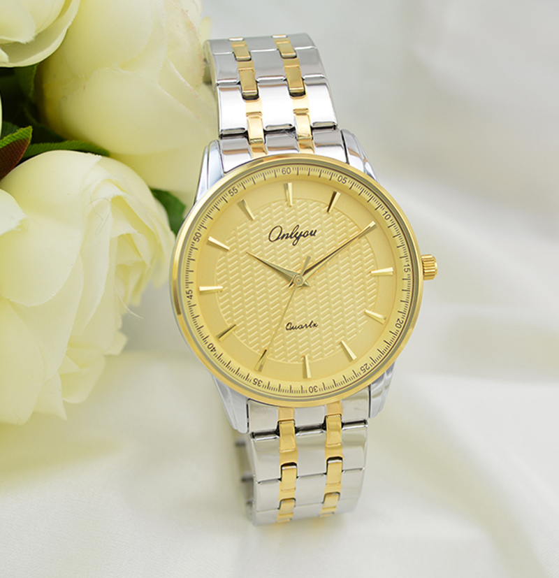 Onlyou Luxury Brand Quartz Watches Women Men Business Watch Stainless Steel Watchband Ladies Formal Wristwatch Gold Watch 8883<br>