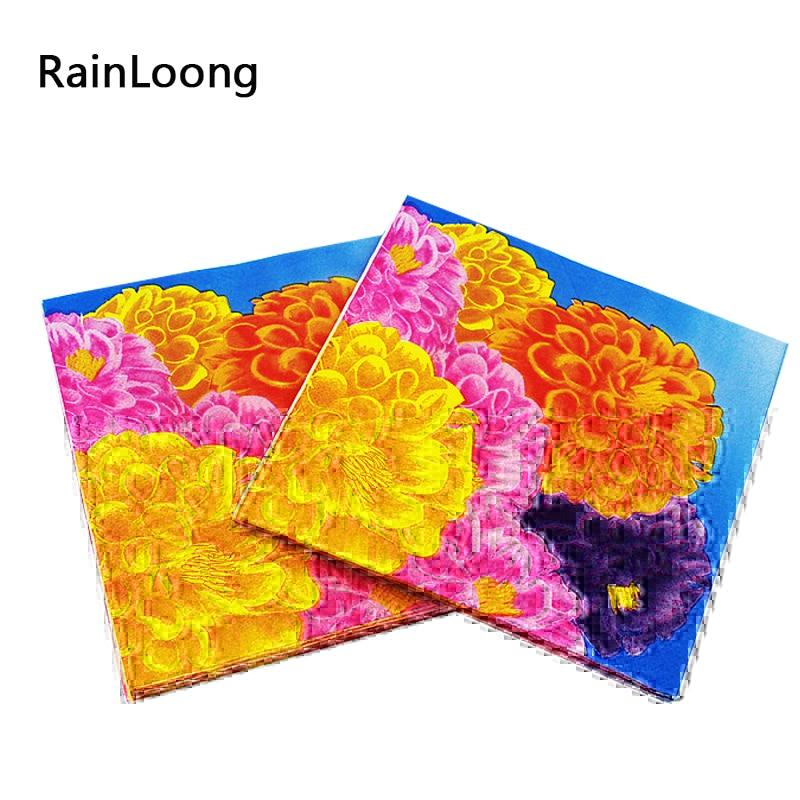 [Rainloong] хризантемы Бумага салфетки мама цветок Всё для праздников и вечеринок ткани салфетки Декупажные 33 см 33 см 20 шт./упак./ много(China (Mainland))