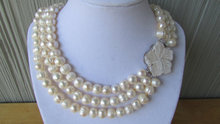 White Pearl 3 Rows  Necklace,Weddings.Gift,Bridal Gif