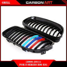OEM design look 2pcs double slats car stying auto tuning parts E90 abs grill 2009-2011(China)