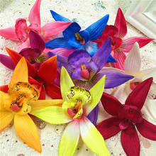 10 PCS/(9 cm/flower) artificial flowers butterfly orchid silk cloth single/DIY wedding car wreath household vase decoration(China)