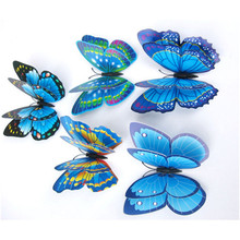 12x 3D Butterfly Wall Sticker Fridge Magnet double layer feather butterfly magnetic sticker refrigerator decor multicolors