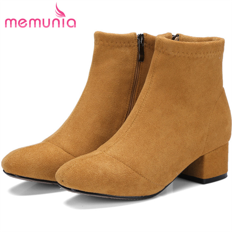 MEMUNIA Med heels shoes woman ankle boots fashion shoes in spring autumn womens boots flock zip solid big size 34-43<br>