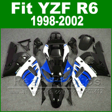 Free Custom Plastic parts for YAMAHA R6 fairing kits 1998 1999 2000 2001 2002  black  blue YZF R6 fairings98 -02 bodywork