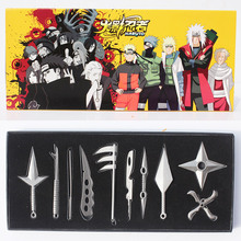 10Pcs/Set NARUTO Hatake Kakashi Deidara Kunai Shuriken Weapons Pendant Naruto Cosplay Figure Toys 8cm Approx Boxed Free Shipping(China)
