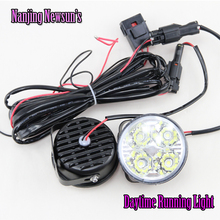 2x Auto Car 4 LED Round DRL Daytime Running Day Driving Bulb Fog Light Lamp 12V 4W Free Shipping