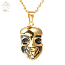 Wholesale Lot Punk Men Stainless Steel Mask Pendant Skull Clown 2017 Newest Necklace Collar Charm Jewelry Christmas Gift VP346(China)