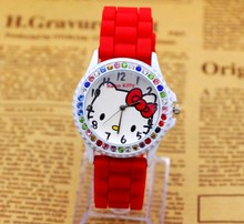 New Cute Hello Kitty watch for girls kids student srelogio infantil clock fashion student cartoon watch Free Shipping
