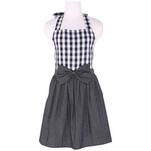 Neoviva Cotton Denim Apron with Bow Knot Decoration for Housewife, Style Tiffany, Woven Checked Navy