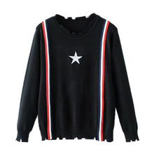 The fall of new Europe stripe knit short sleeved turtleneck loose hem Pentagram gap thin coat female()