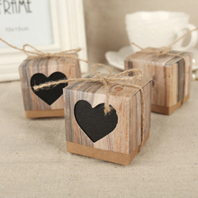 100pcs 5Cm Bark Candy Box Love Rustic Kraft Bonbonniere with Burlap Jute Shabby Chic Vintage Twine Wedding Favor Gift Boxes
