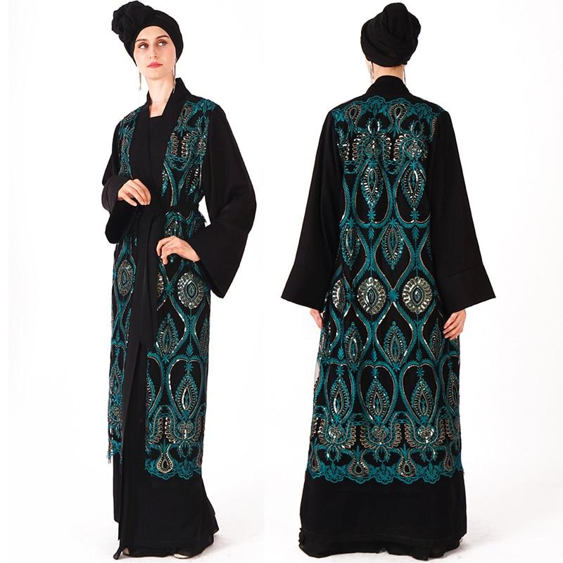 YYear Womens Open-Front Ramadan Fashion Print Islamic Dubai Kaftan Muslim Arab Robe Cardigan