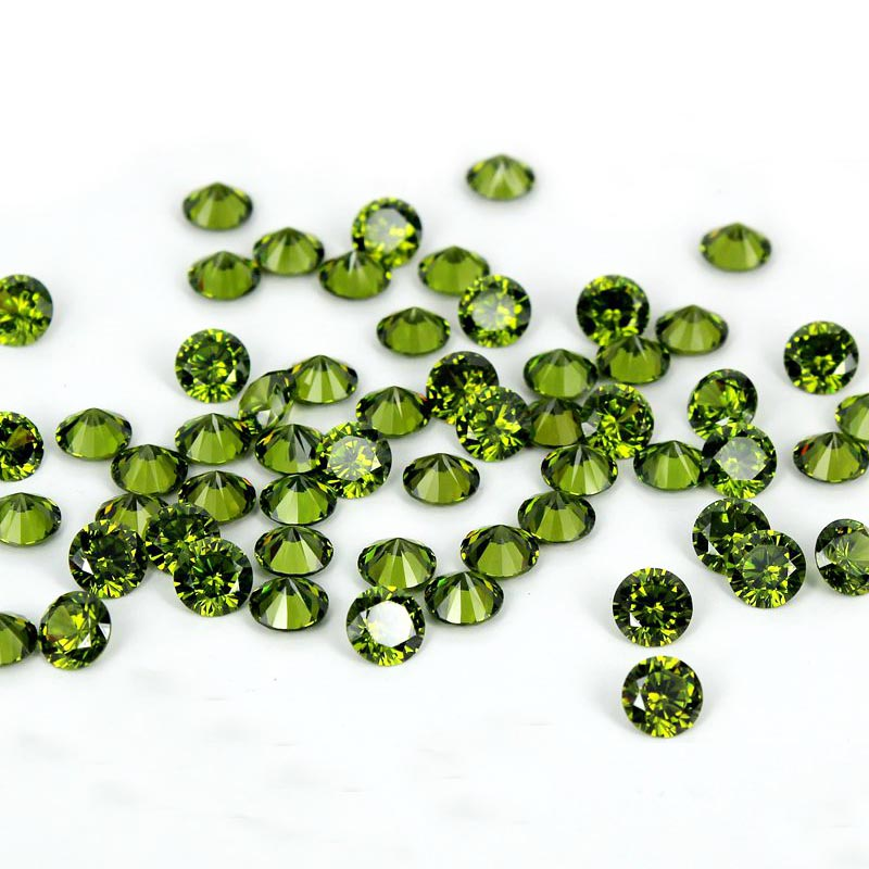 11 Sizes Avaiable Olive 4-18mm Brilliant Cubic Zirconia Stones Round Shape Pointback Top Quality Cubic Zirconia Beads<br>