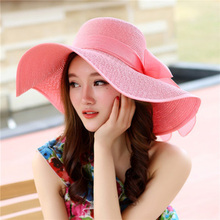 2017 Summer Girls Vacation Tour Hat Bow Visor Sun Beach Straw Cap Mujer Candy Colored Sun Hats Women's Foldable Wide Large Brim(China)