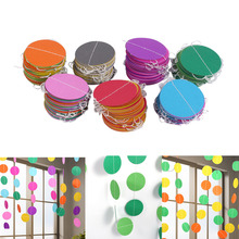 4M DIY Paper Garland Wedding Decoration Halloween Christmas Creative Colorful Hanging Paper Curtain Garlands String Round/Heart