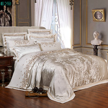 KELUO Wedding Luxury Satin Jacquard Bedding sets Embroidery Queen King size Duvet cover Bed sheet Pillow Sham Red Beige white(China)