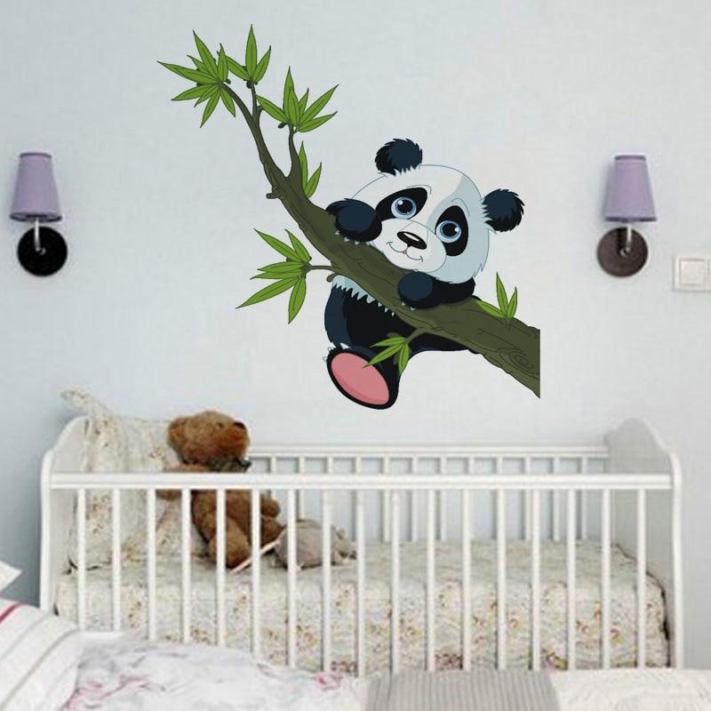 Bosque De Dibujos Animados Panda de bambú pájaros Árbol Pegatinas de Pared para Cuarto de Niños Bebé Vivero