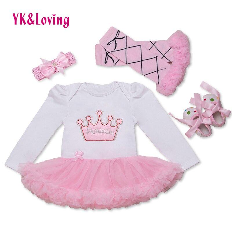 New Baby Girls 1 Birthday Clothes Newborn Baby Girls Clothes Romper Dress+Headband+Shoes+Leggings 4pcs/set Girl Clothing F2022<br><br>Aliexpress