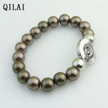 wholesale hand-made Elastic bracelet  gray peral 18mm snap button bracelet   for snap button jewelry