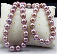 DYY+++429  Counter genuine pearl necklace natural freshwater 9-10mm circle near her mother female light purple pink