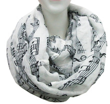 Free Shipping 2017 New Fashion White Burgundy Navy Music Note Sheet Music Piano Notes Script Print Scarves Infinity Scarf