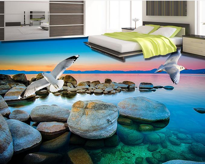 customized 3d floor wallpaper Sunset seagull stone 3d pvc flooring waterproof living room bathroom self- adhesive wallpaper<br>