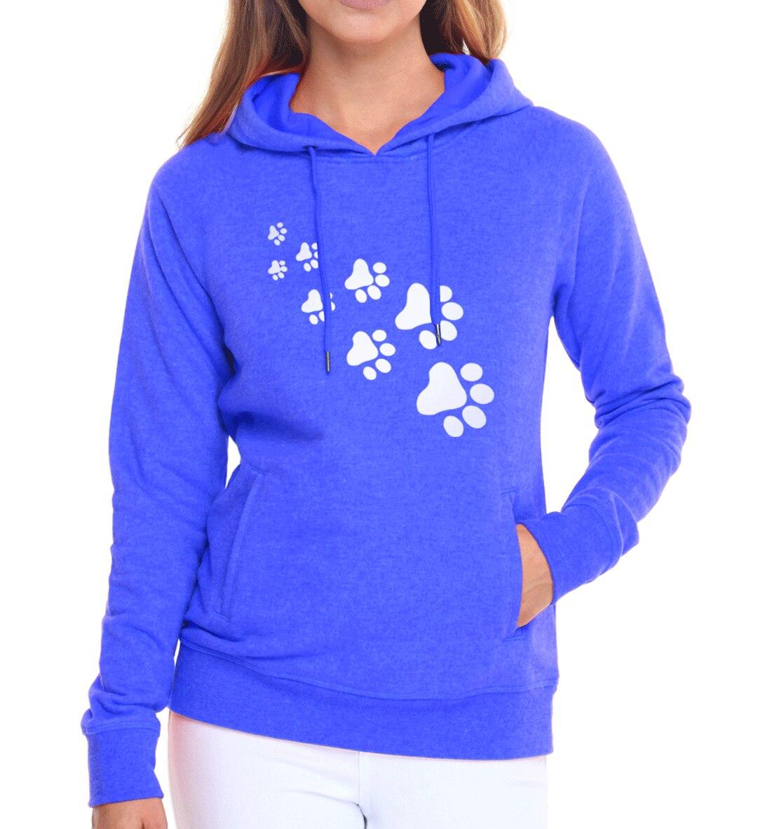 Casual fleece autumn winter sweatshirt pullovers 17 kawaii cat paws print hoodies for Women black pink brand tracksuits femme 3