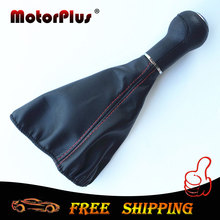New Red Stitching 5 Speed Car Gear Shift Knob With Gaiter Boot Shifter Collar for Volkswagen VW Golf Jetta 3 MK3 Tracking#