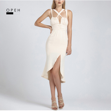 W1139 six color instock cross front straps short front long back tulip bud shape v-neck sexy 2017 summer dress(China)