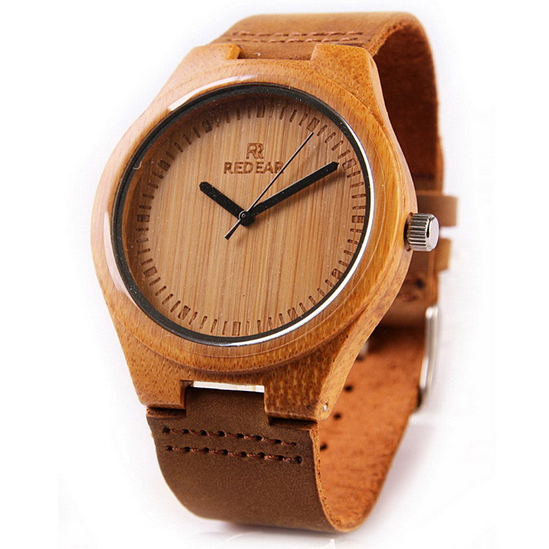 2017 Hot Sell Brand REDEAR Mens Unique Design Wooden Watches with Soft Leather Band Men Fashion Wristwatch relogio masculino<br>