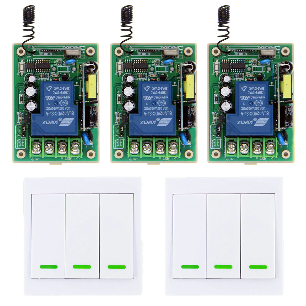 85-265V 110V 220V 1 CH 1CH RF Wireless Remote Control Switch System Receiver + 3CH 86 Wall Transmitter,315 / 433.92 Toggle<br>