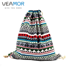 VEAMOR National Canvas Drawstring Backpack Vintage Ethnic Cotton String Bag Bookbag Storage Bags WB1477(China)