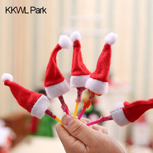 Home Creative Mini Christmas Hat Lollipop Sugar Hat DIY Party Decorations For Children Christmas Gift Funny Style 2018(China)