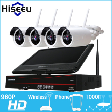 Hiseeu 10 Inch Displayer 4CH 960P Wireless CCTV System Wireless NVR IP Camera IR-CUT Bullet Home Security System CCTV Kit