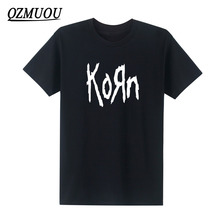 New mens t shirts fashion 2017 Korn Metal Rock band Logo Graphic T Shirt Cotton O Neck short sleeve Tee Shirt hip hop  Size