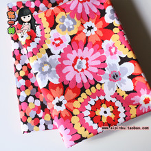 Half meter 100% cotton plain USA fabric, black bottom with pink yellow watercolor flowers cloth for handmade DIY, dress CR-361(China)