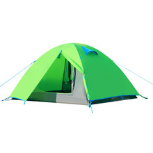 New Double Layer Camping Tent 2 Persons 4 Season With Aluminum Support Green free shipping