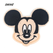 SHINE Brand 2PCs Cartoon Cloth Patches Mickey Mouse Iron On Patches Applique Clothes Embroidery DIY Accessory B0012(China)