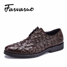 Sapato Casual Genuine Leather Flats Oxfords Homem Shoes for Mens Fashion Formal Oxford Dress Shoes Crocodile Brand Pointed Toes