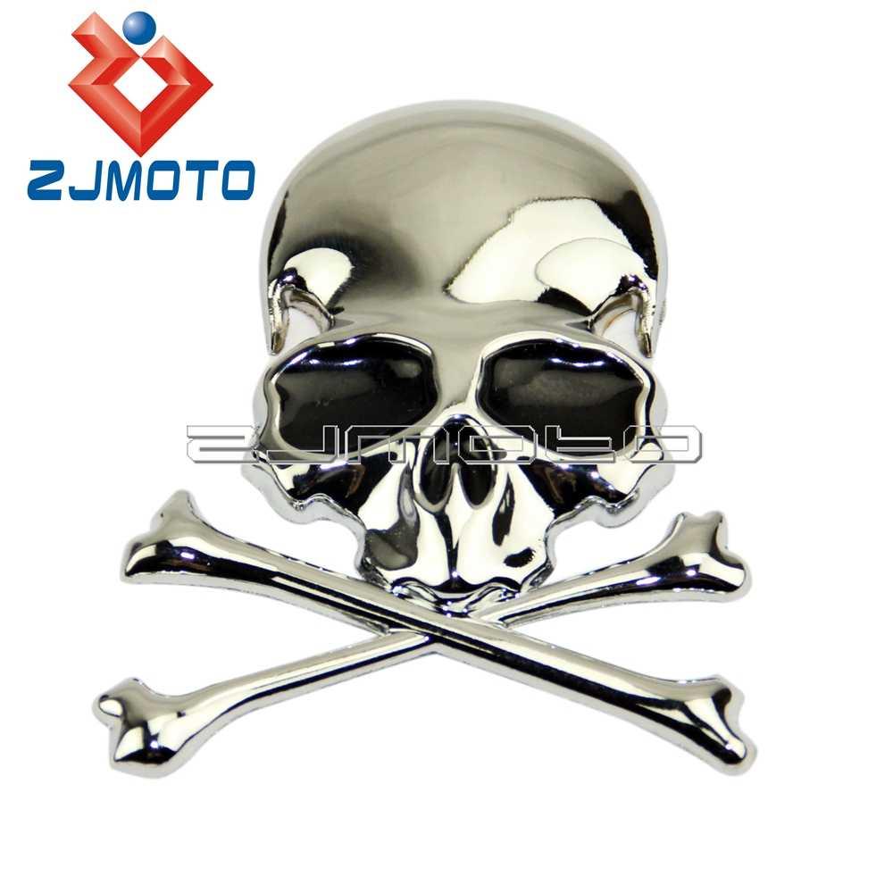 3d chrome metal skull car trunk motorcycle fuel tank emblem badge decal sticker for harley chopper