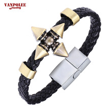 Hot Animation Alloy Naruto Weave Leather Bracelet & Bangle Wholesale Naruto Shuriken Dart Charming Cosplay Bracelets Jewelry