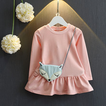 baby girls clothing 2017 spring and autumn new Korean girl small fox really bag clothing sweater baby dress with cartoon bags(China)