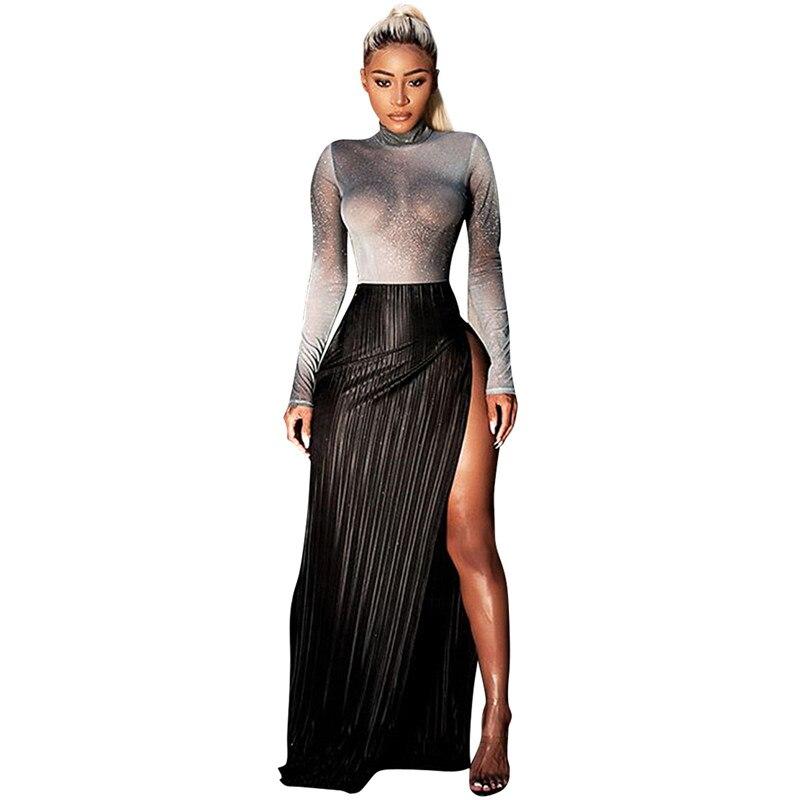 women shiny silver tops and high slit skirt set-6
