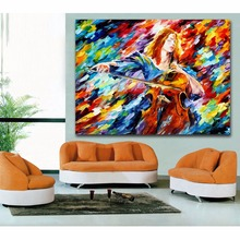 Palette Knife Painting Violoncello Jazz Music Trumpet Musician Picture Canvas Print for Living Room Bedroom  Hotel Bar Decor