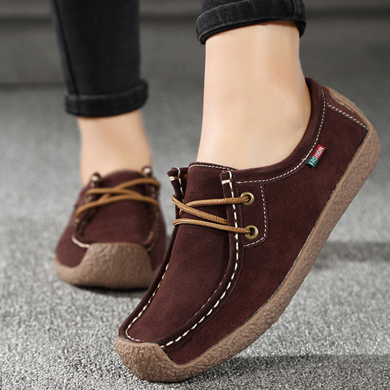 Women Genuine Leather Flats Lace Up Loafers Moccasins Round Toe Comfortable Casual Driving Shoes Chaussure Femme Size 35-42(China)