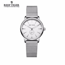 Reef Tiger/RT Full Stainless Steel Analog Quartz Watches for Women Waterproof Vintage Couple Watches RGA820(China)