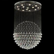 Modern Crystal Ceiling Light Hanging Lamps Fixtures GU10 90~260V Led Living Room Dinning Room Crystal Ball Lighting WPL220