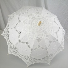 lvory/White Handmade Cotton Lace Parasol Umbrella Bride Wedding